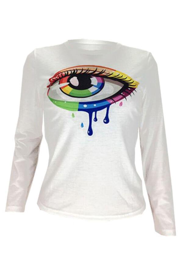 Lovely Casual Eye Printed White T-shirt