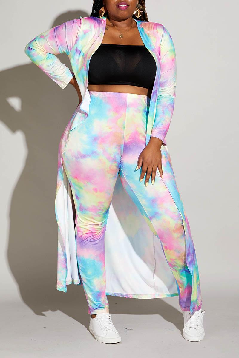 Lovely Casual Gradual Change Printed Multicolor Plus Size Two-piece Pants Set