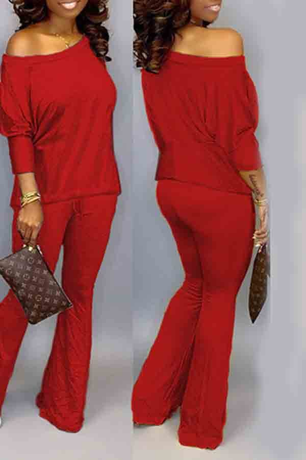 Lovely Trendy Loose Red Two-piece Pants Set