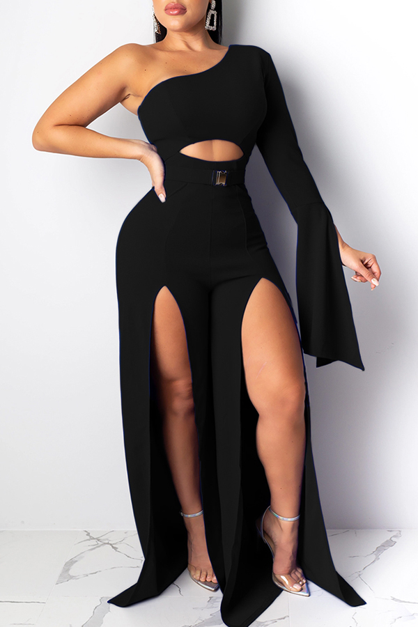 Lovely Casual One Shoulder Black One-piece Jumpsuit ...