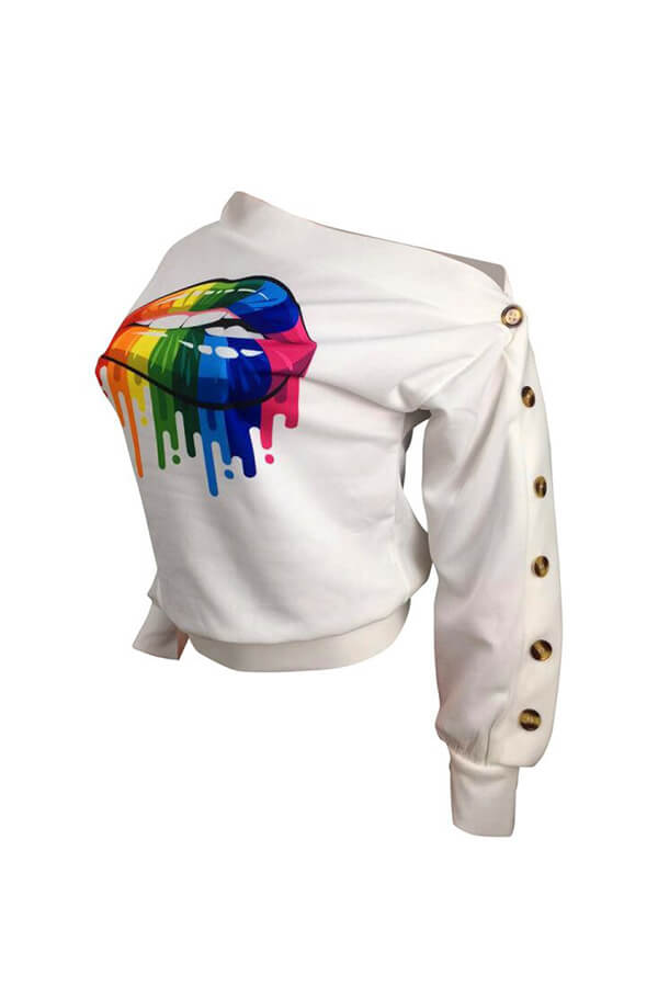 Lovely Casual Lip Printed White Sweatshirt Hoodie