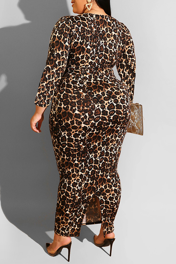 Lovely Casual Leopard Printed Plus Size Two-piece Skirt Set