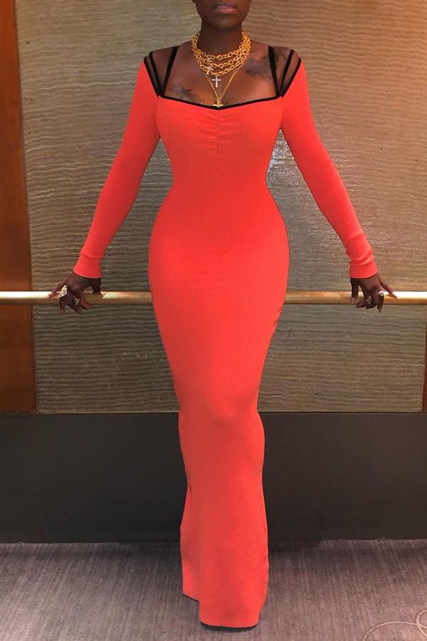 Lovely Sexy Spaghetti Straps Skinny Orange Ankle Length Dress
