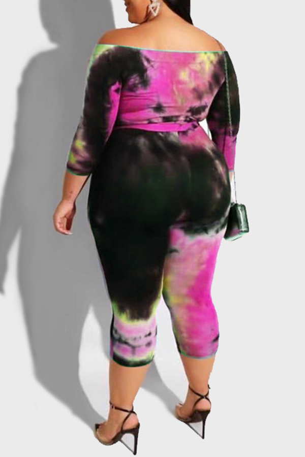 Lovely Leisure Printed Skinny Purple Plus Size One-piece Jumpsuit