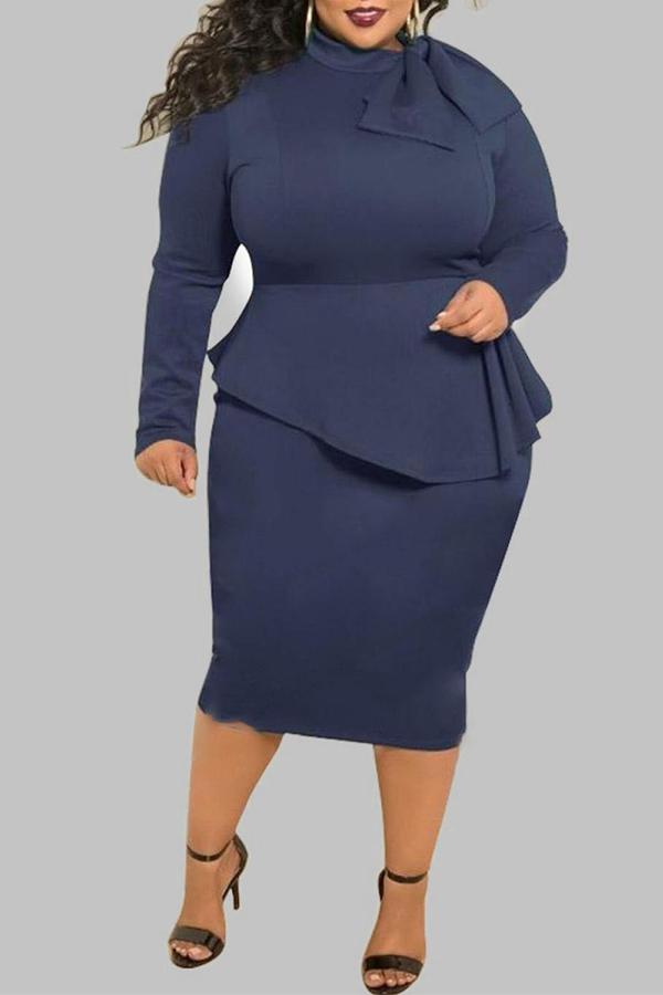 Lovely Trendy Flounce Design Deep Blue Knee Length Plus Size Dress