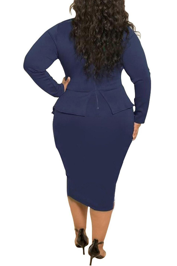 Lovely Trendy Flounce Design Deep Blue Knee Length Plus Size Dress