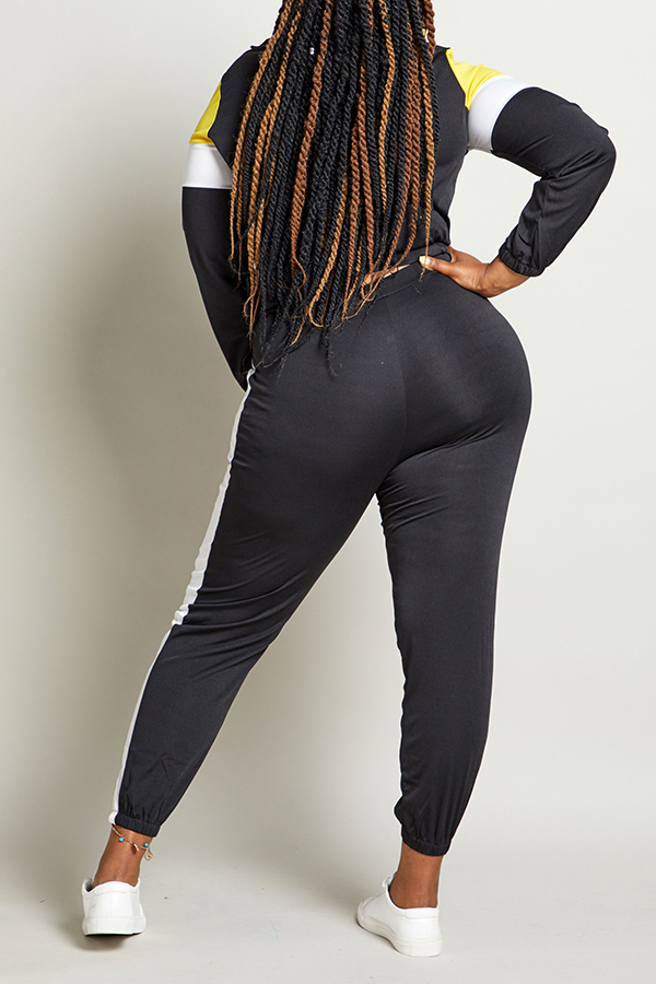 Lovely Sportswear Patchwork Black Plus Size Two-piece Pants Set