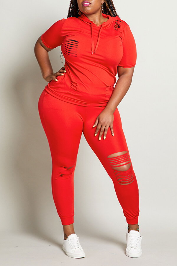Lovely Leisure Hollow-out Red Plus Size Two-piece Pants Set