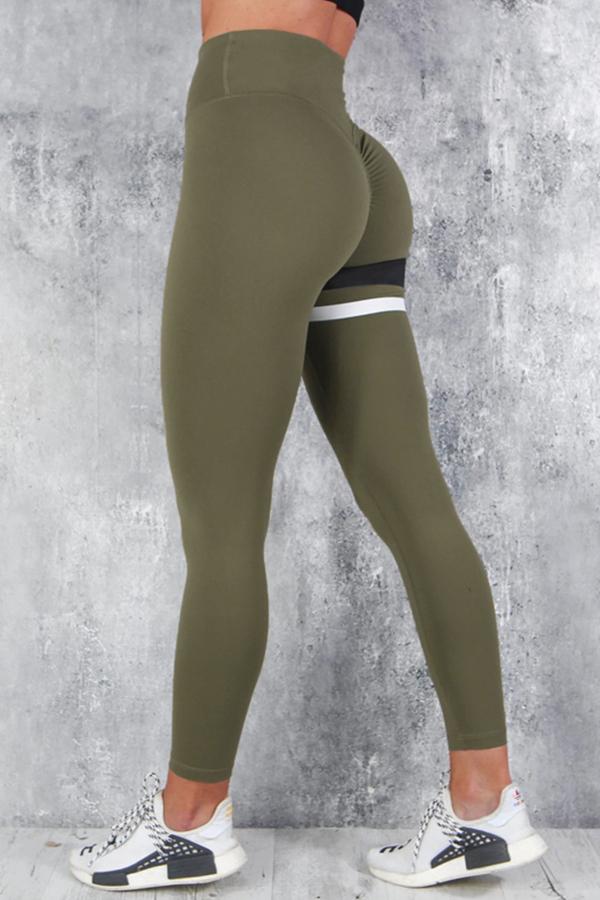 Lovely Sportswear Striped Skinny Army Green Leggings