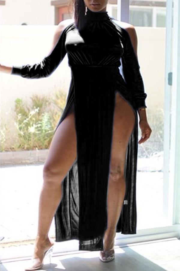 Lovely Trendy Turtleneck Side High Slit Black Floor Length Dress
