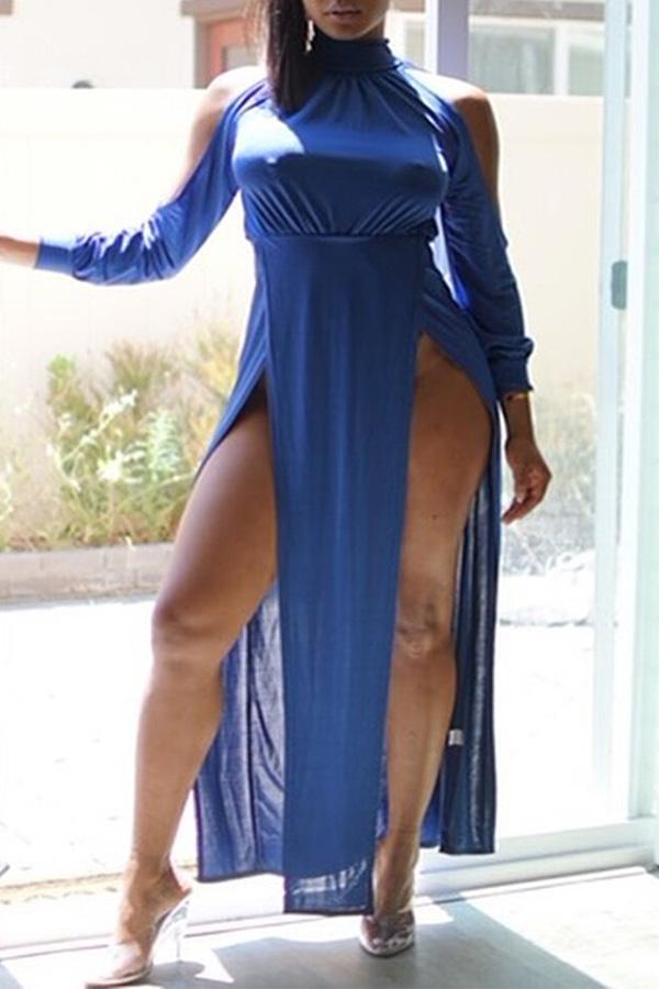 Lovely Trendy Turtleneck Side High Slit Blue Floor Length Dress