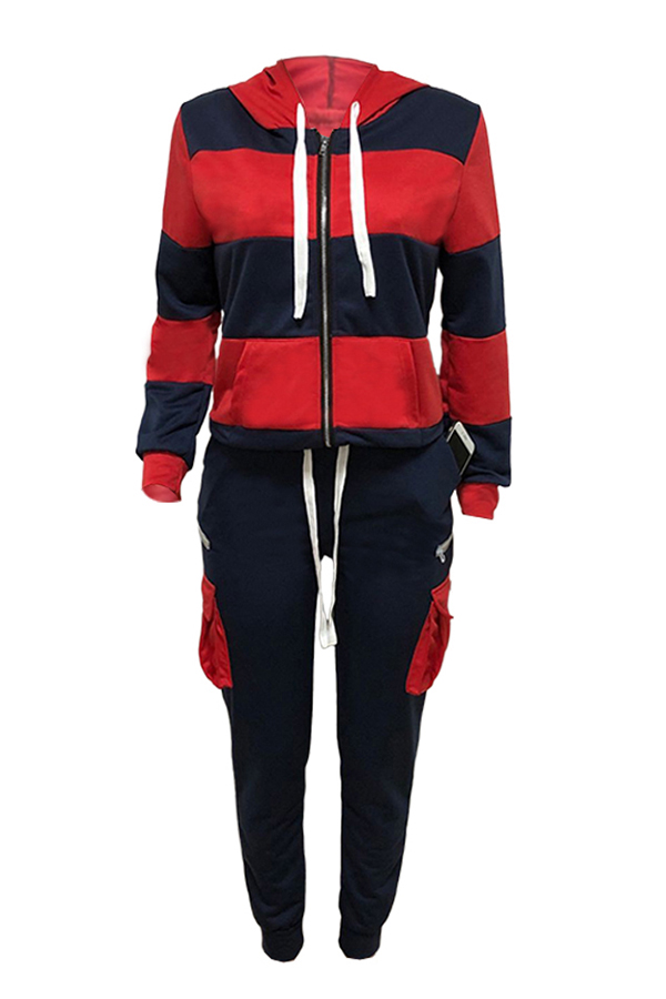 Lovely Casual Hooded Collar Patchwork Dark Blue Two-piece Pants Set