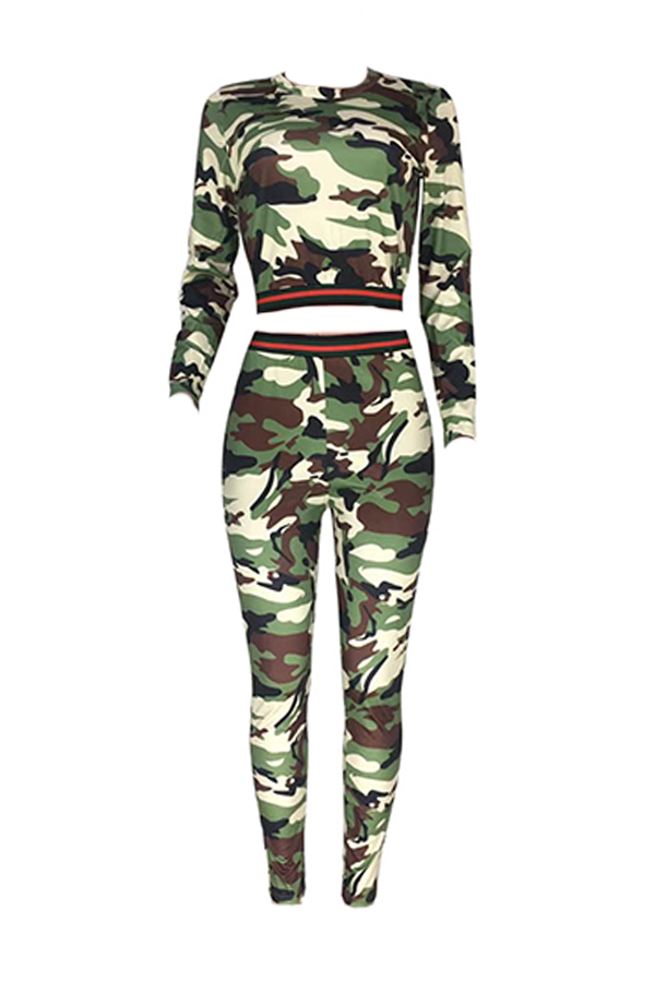 Lovely Casual Camouflage Printed Army Green Two-piece Pants Set