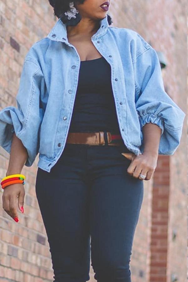 Lovely Trendy Turndown Collar Buttons Design Blue Jacket