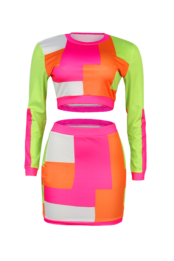 Lovely Casual Plaid Printed Multicolor Two-piece Skirt Set