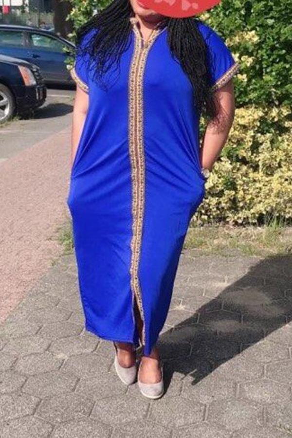 Lovely Casual Mandarin Collar Blue Ankle Length Plus Size Dress