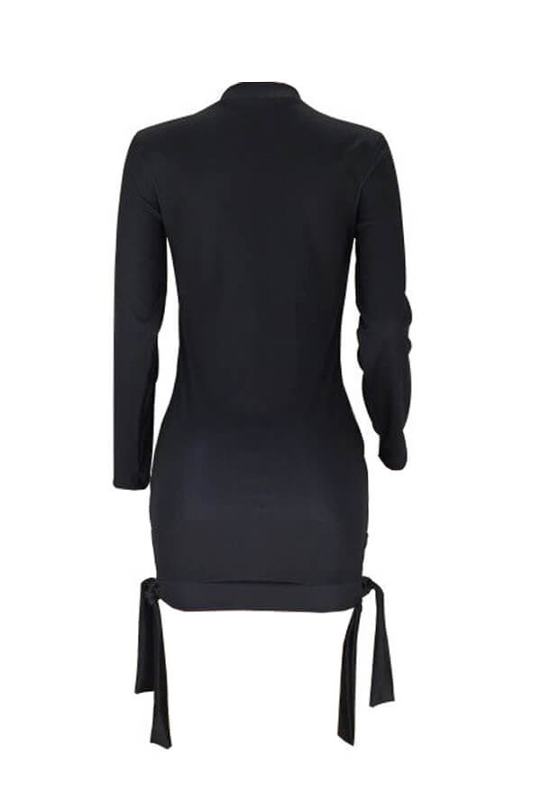 Lovely Casual Lip Printed Black Mini Dress