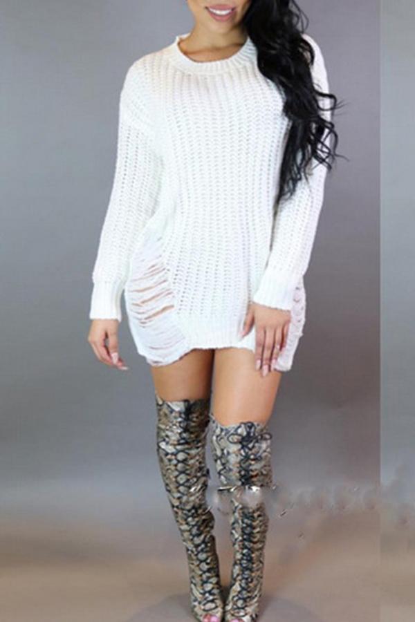 Lovely Trendy Asymmetrical Broken Holes White Mini Dress