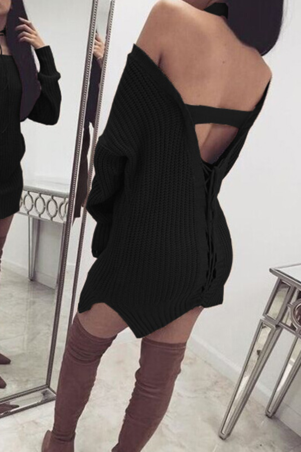 Lovely Casual Backless Black Mini Dress