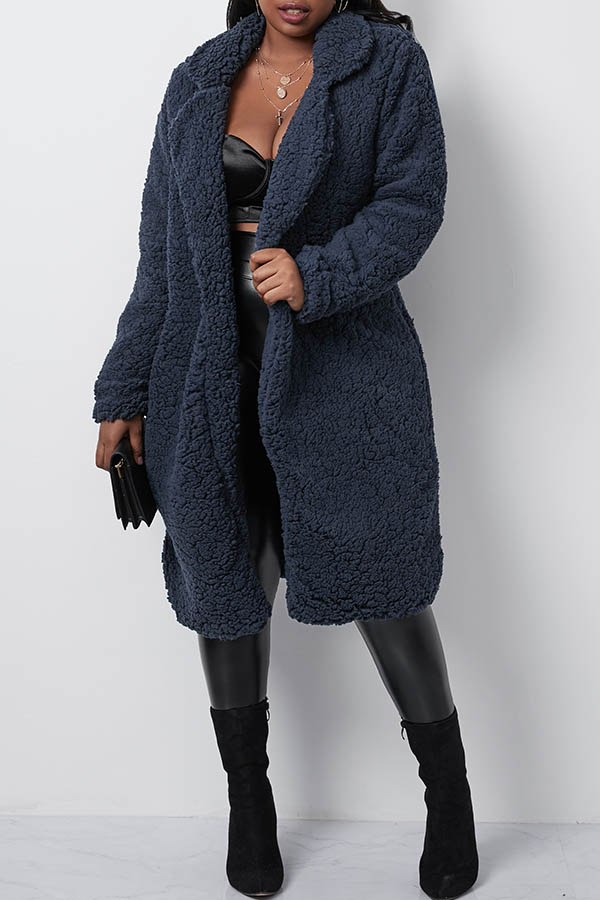 Lovely Casual Navy Blue Long Coat