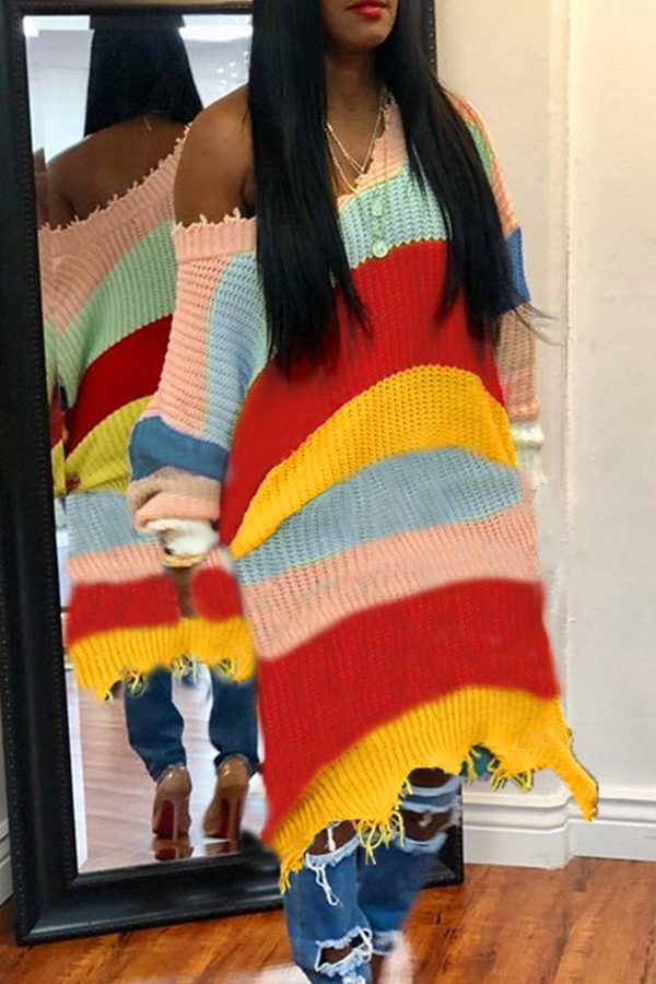 Lovely Casual Striped Multicolor Mid Calf Dress