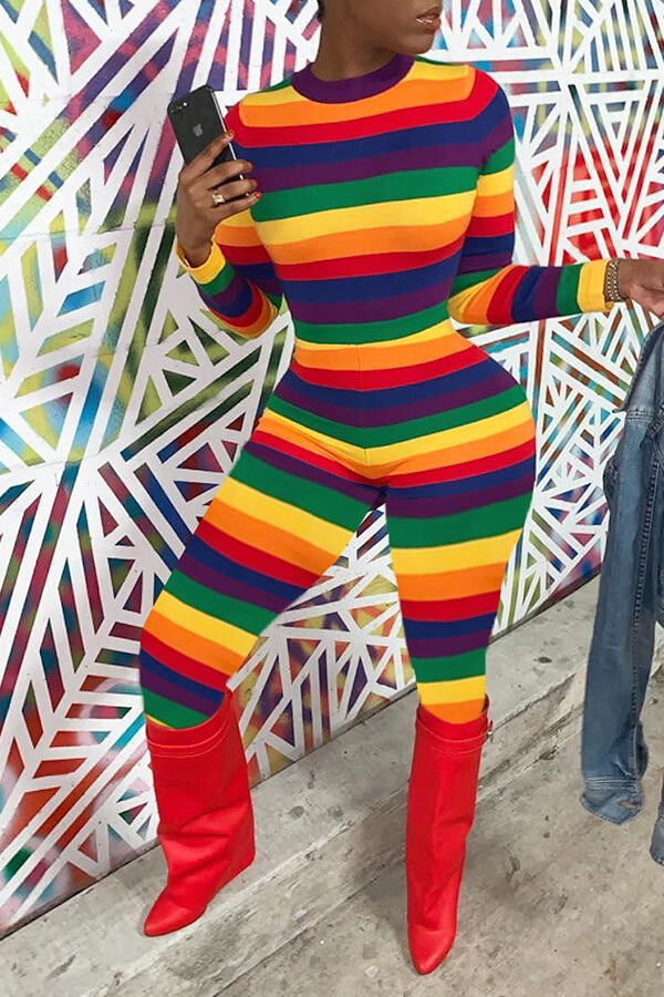 Lovely Chic Striped Skinny Multicolor One-piece Jumpsuit