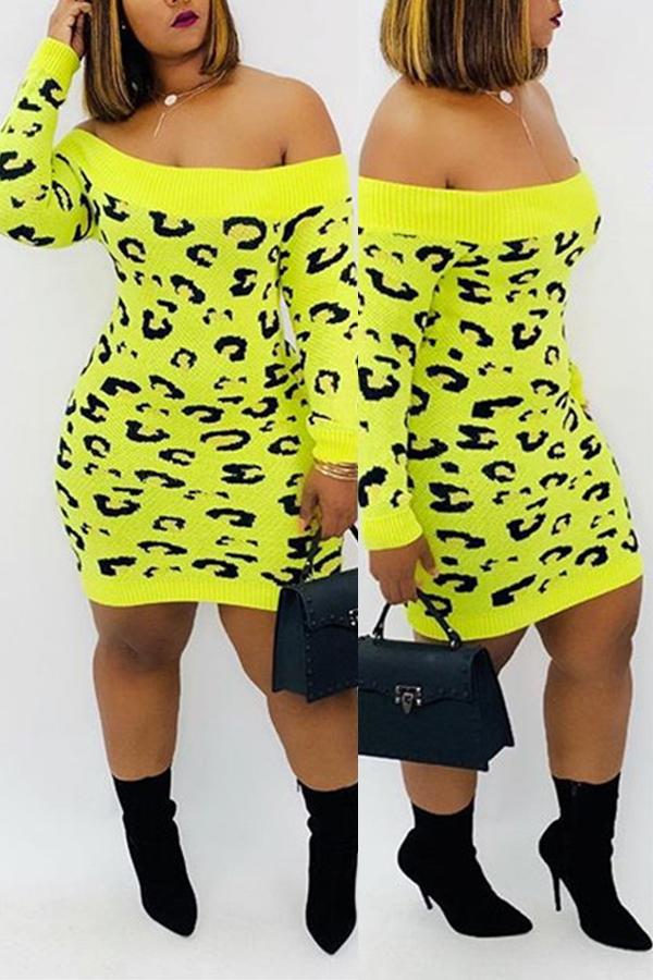 Lovely Casual Leopard Green Mini Dress