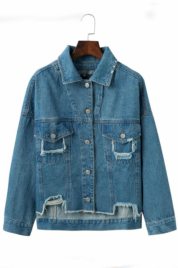 lovelywholesale / Lovely Casual Raw Edge Blue Denim Coat