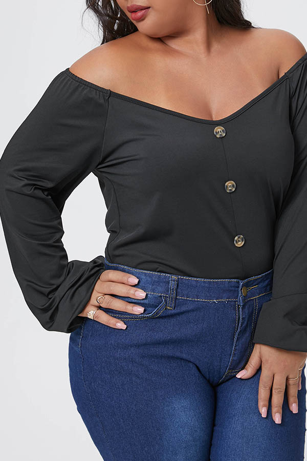 Lovely Casual Buttons Black Plus Size Blouse