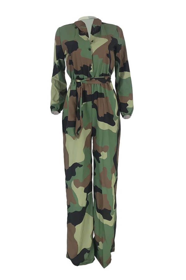 Lovely Casual Camo Print Army Green One-piece Jump