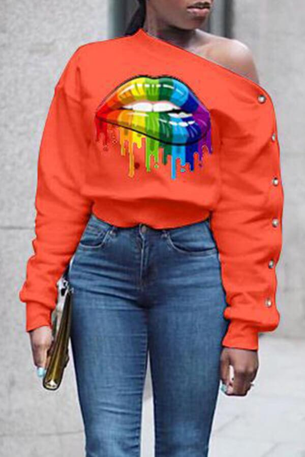 Lovely Casual Asymmetrical Neckline Lip Printed Orange Sweatshirt Hoodie