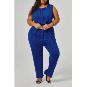 Lovely Casual Sleeveless Blue Plus Size One-piece