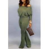 Lovely Casual Dew Shoulder Army Green One-piece Jumpsuit