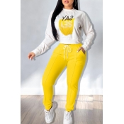 Lovely Casual Printed Yellow Two-piece Pants Set