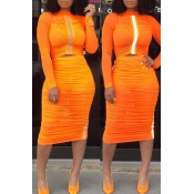 Lovely Casual Half A Turtleneck Orange Two-piece S