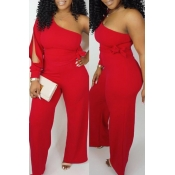 Lovely Work One Shoulder Red One-piece Jumpsuit
