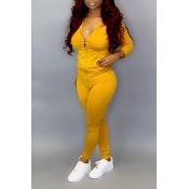 Lovely Casual Zipper Design Basic Yellow Plus Size