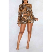Lovely Chic Leopard Printed Coffee Two-piece Short