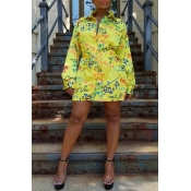 Lovely Casual Turndown Collar Printed Yellow Mini