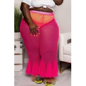 Lovely Casual See-through Rose Red Plus Size Pants