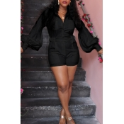 Lovely Casual Pocket Patched Black One-piece Rompe