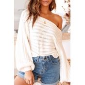 Lovely Work Hollow-out White Sweater