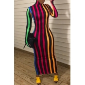 Lovely Casual Striped Red Ankle Length Dress