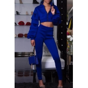 Lovely Street Mandarin Collar Blue Two-piece Pants Set