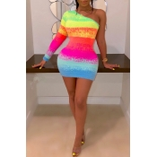 Lovely Casual One Shoulder Multicolor Mini Dress
