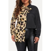 Lovely Casual Patchwork Black Plus Size Blouse