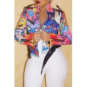 Lovely Casual Printed Multicolor Jacket(Batch Prin