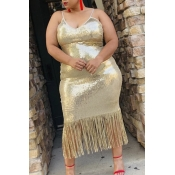 Lovely Party Tassel Design Gold Mid Calf Plus Size