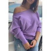 Lovely Trendy Nail Bead Design Light Purple Sweats