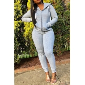 Lovely Casual Hooded Collar Grey Two-piece Pants S
